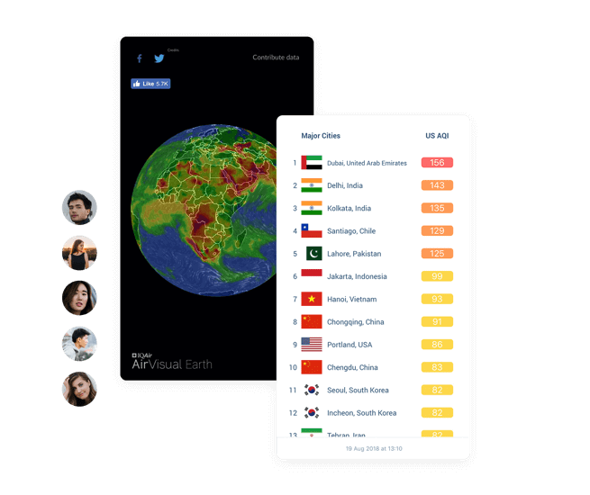 Air quality app community, earth pollution map and most polluted cities